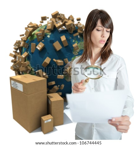 Young woman in a transportation background analyzing a document. Map texture source comes from the Nasa free of use images - stock photo