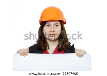 Young woman in a white construction helmet with a placard in her hand. White background.