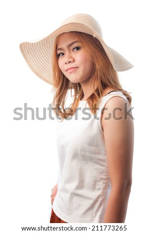 Young woman in a white shirt on a white background