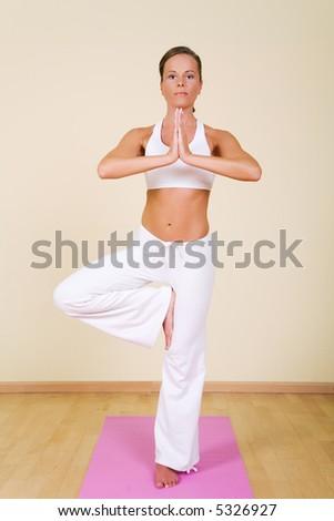 Young woman in a yoga position (Vrikshasana) - stock photo