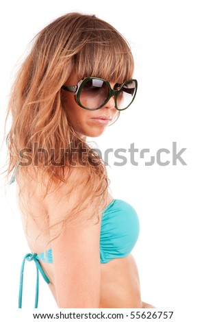 Young woman in bikini - posing isolated