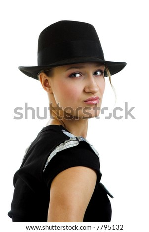 young woman in black hat isolated on the white