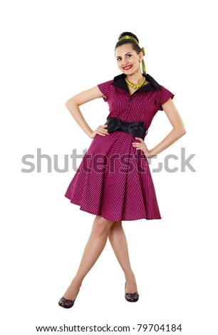 young woman in bright colour dress in 60's style - stock photo