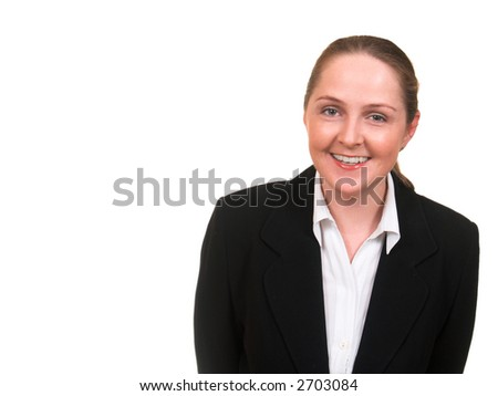 Young woman in business suit laughing isolated on white with copyspace - stock photo