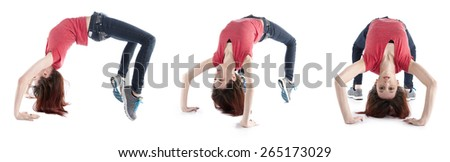 Young Woman in Casual Outfit Stretching Out her Back in Different Directions, Isolated on White Background. - stock photo