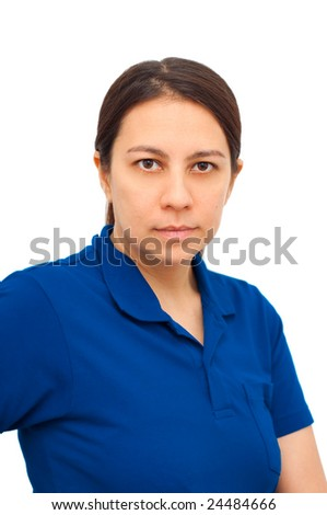 Young woman in casual working attire over white background - stock photo