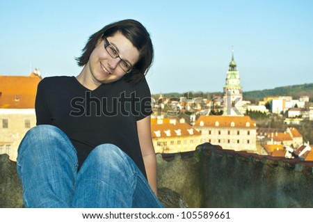 young woman in Cesky Krumlov