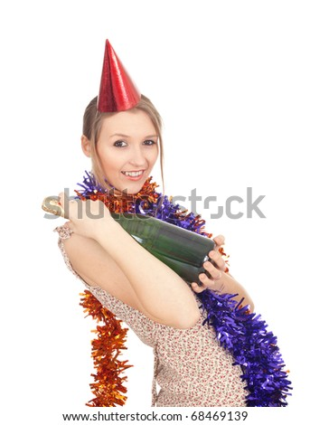 young woman in chains and cone hat with green bottle of champagne