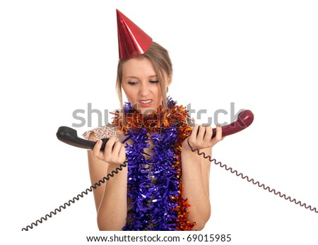 young woman in chains and cone hat with  phone