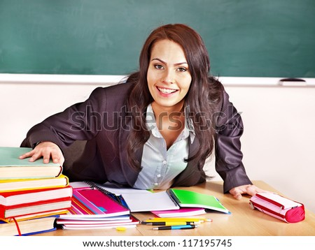 Young woman in classroom.