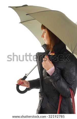 young woman in coat under umbrella isolated on white - stock photo