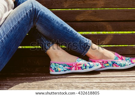 young woman  in comfortable summer shoe - stock photo