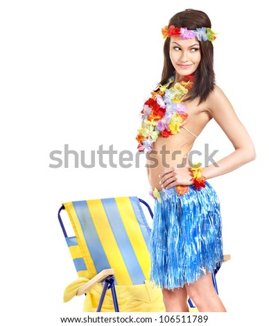 Young woman in  costume of Hawaii. - stock photo