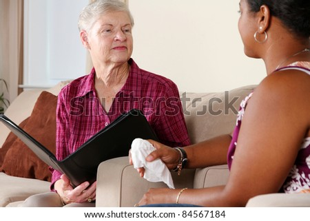 Young Woman in Counseling Session at Office - stock photo