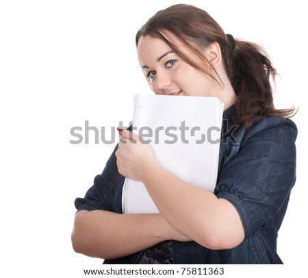 young woman in dark blouse with blank card - stock photo