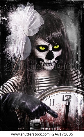 Young woman in day of the dead mask skull face art. - stock photo