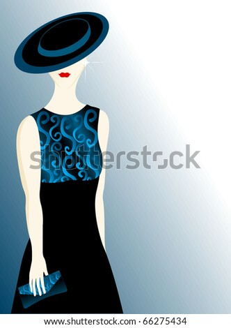 Young woman in evening gown, elegant features, classic clothing, and discrete jewalry - stock photo