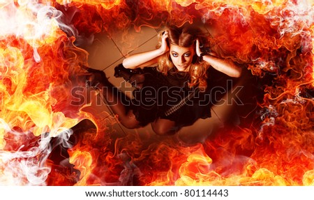 young woman in fire