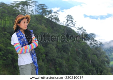 Young woman in forest  - stock photo