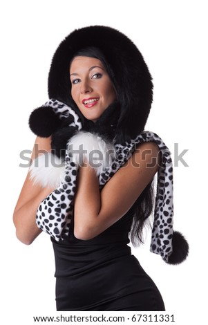 Young woman in fur   on a white background.