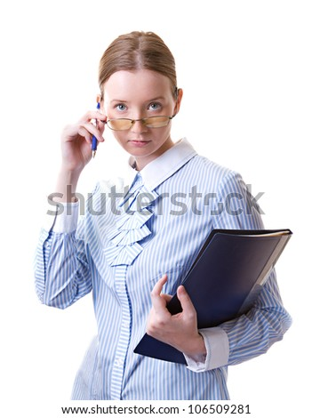 Young woman in glasses with folder in her hands, isolated on white - stock photo