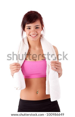 Young woman in great shape - fitness concept - stock photo