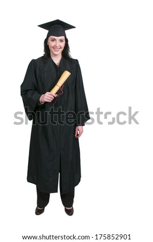 Young woman in her graduation robes