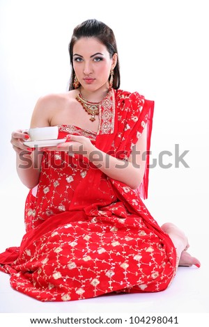 Young woman in indian red sari