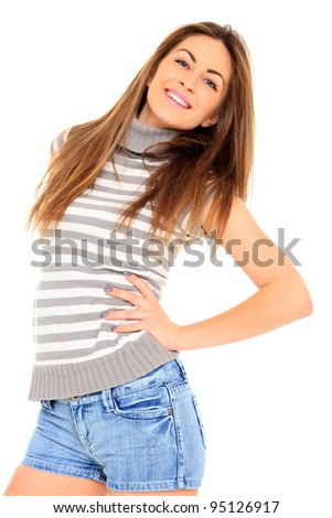 young woman in jeans shorts, studio white