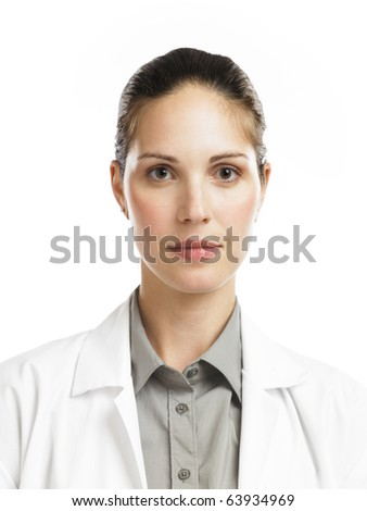 young woman in lab coat 2 - stock photo