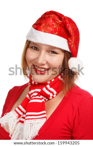 Young woman in new year or christmas suit smiling isolated on white background