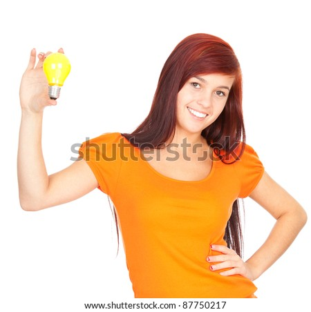 young woman in orange shirt with yellow lightbulb, white background