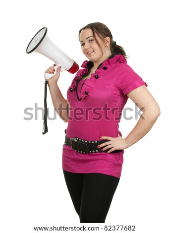 young woman in pink blouse with megaphone - stock photo