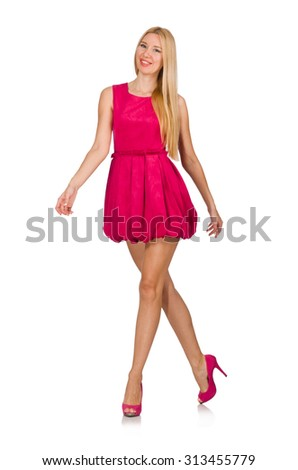 Young woman in pink dress isolated on white