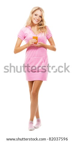 Young woman in pink dress over white background - stock photo