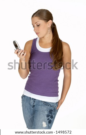 Young Woman in Purple Tank Top Looking at Cell Phone - stock photo