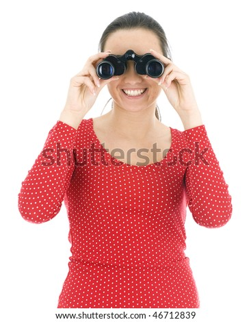 young woman in red blouse looking through binoculars - stock photo
