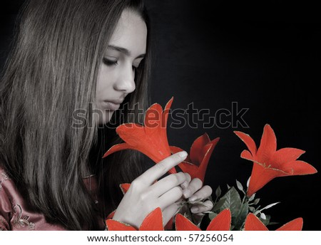 Young woman in red. Chinese styled. - stock photo