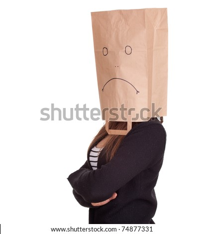 young woman in sad ecological paper bag on head with crossed arms, series
