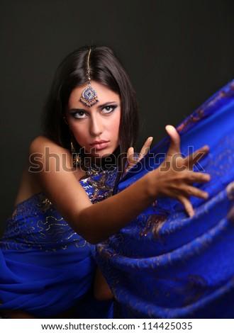 young woman in sari - stock photo