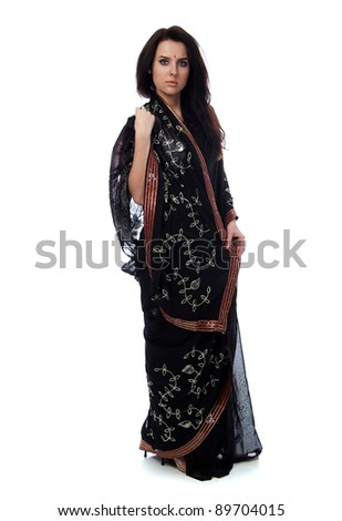young woman in sari dress - stock photo