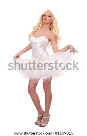 young woman in sexy dress,  isolated on white background