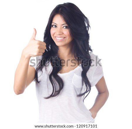 Young woman in short jeans gesturing thumb  up  on white background - stock photo