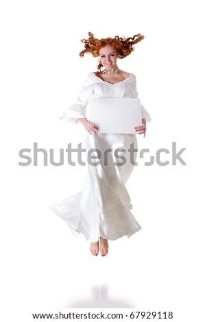 young woman in snowy wedding dress show blank frame, isolated on white - stock photo