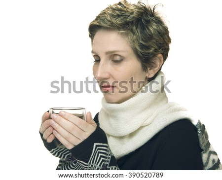 young woman in sweater with Cup of tea isolated on white background