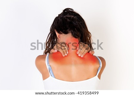 Young woman in tank top having neck pain isolated on white background