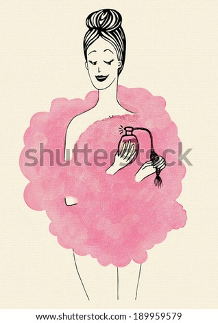 Young woman in the cloud of her favorite perfume holding a bottle.  The delicate aroma. Rose fragrance. Beauty and lifestyle background for your design.  - stock photo