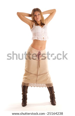 young woman in the long skirt on white - stock photo