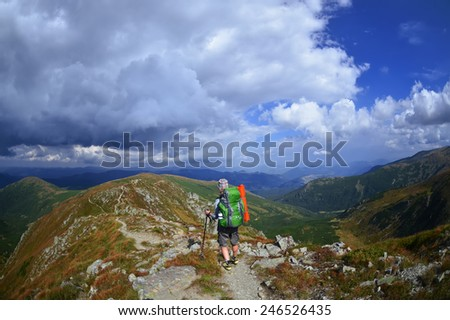 Young  woman in the mountains ,Carpathian ,Ukraine - stock photo