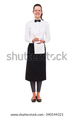 Young woman in waiter uniform holding notepad over white background isolated. - stock photo